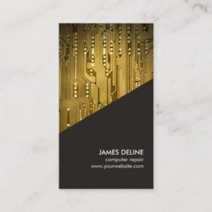 Simple Grey Gold Circuit Board Computer Repair Business Card