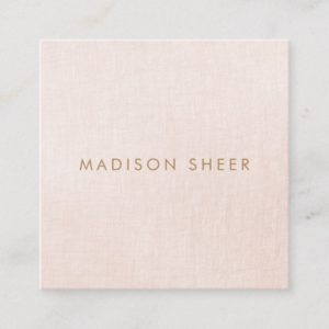 Simple, Light Blush Pink, Stylish Minimalistic Square Business Card