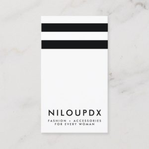 Simple Modern Black White Striped Business Card