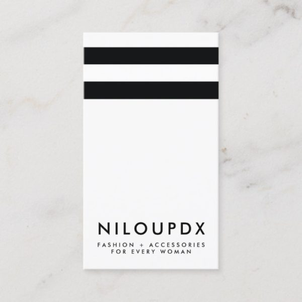 Simple Modern Black White Striped Business Card