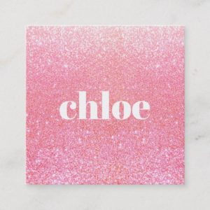 Simple Modern Pink Glitter Makeup Artist Square Business Card
