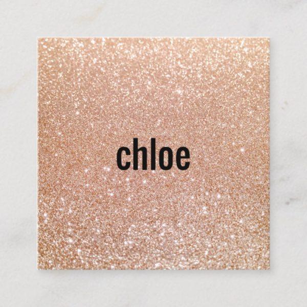 Simple Modern Rose Gold Glitter Makeup Artist Square Business Card