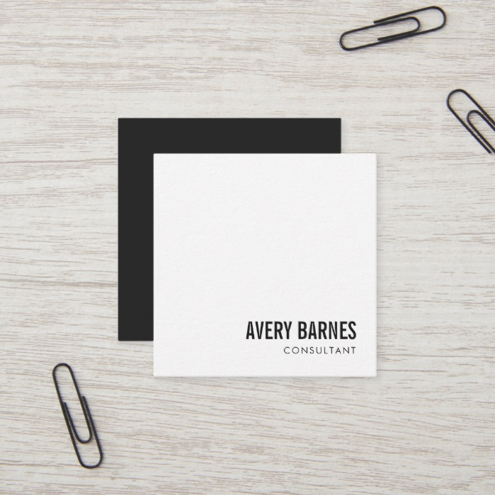 Simple Modern White Professional Square Business Card