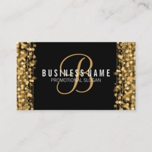 Simple Monogram Gold Lights & Sparkles Business Card