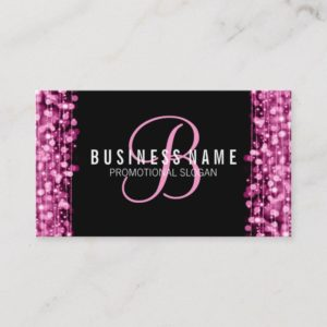 Simple Monogram Pink Lights & Sparkles Business Card