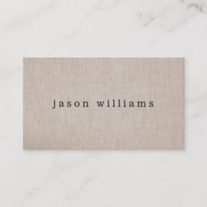Simple Plain Tan Beige Linen Look Business Card