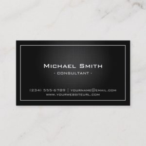 Simple Professional Black Metallic Modern Look Business Card