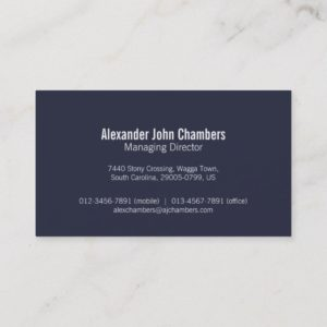Simple professional navy business cards