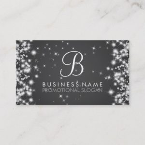 Simple Sparkle Monogram Black Business Card