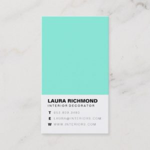 Simple teal block interior decorator professional business card