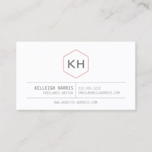 Simple Vintage Monogram Logo in Gray/Red Business Card