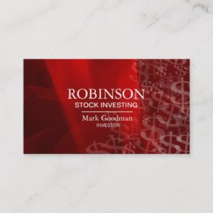 Stock Invest Business Card Red White Dollar Signs