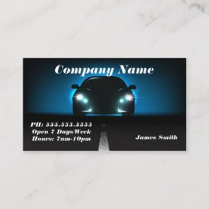 Stylish Elegant Blue Bold Automobile EU Business Card