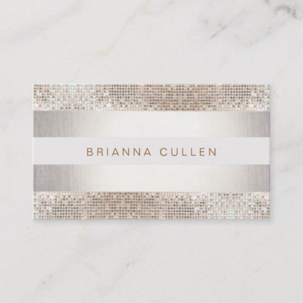 Stylish Faux Sequin Stripe Beauty and Fashion Business Card