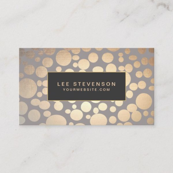 Stylish Gold Circle Pattern Beauty Salon Business Card