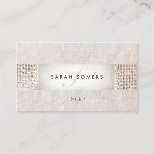 Stylish Modern Silver Sequin Monogram Beauty Business Card