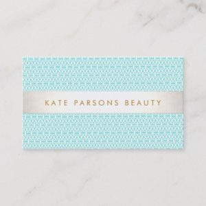 Stylish Turquoise Pattern Fashion and Beauty Business Card