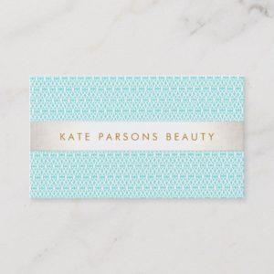 Stylish Turquoise Pattern Fashion and Beauty Business Card