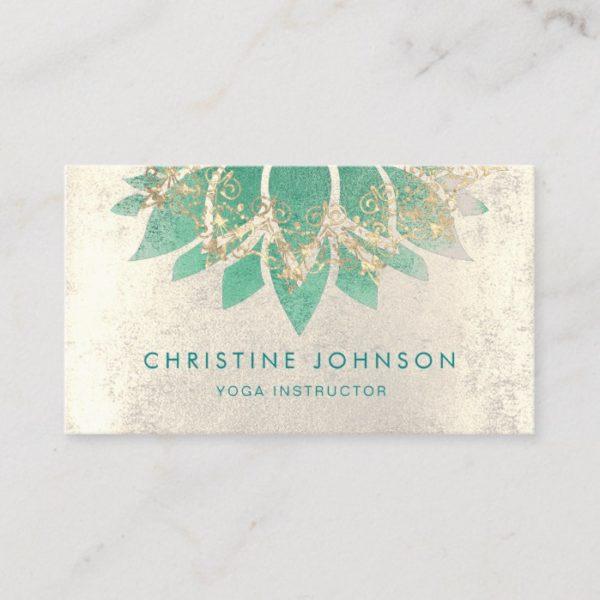 teal lotus flower yoga instructor business card