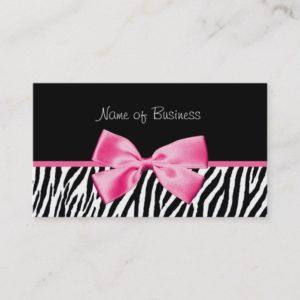 Trendy Black And White Zebra Print Pink Ribbon Business Card