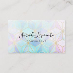 Trendy Iridescent & Pastel Geometric Design Business Card