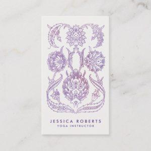 Trendy Lavender Watercolor Floral Bohemian Design Business Card