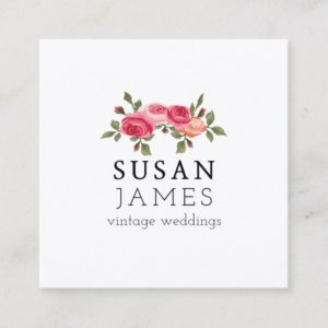 Trendy Watercolor Vintage Roses Floral Simples Square Business Card