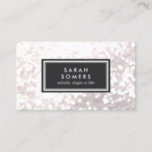 Trendy White Glitter Bokeh Stylish Black Plaque Business Card