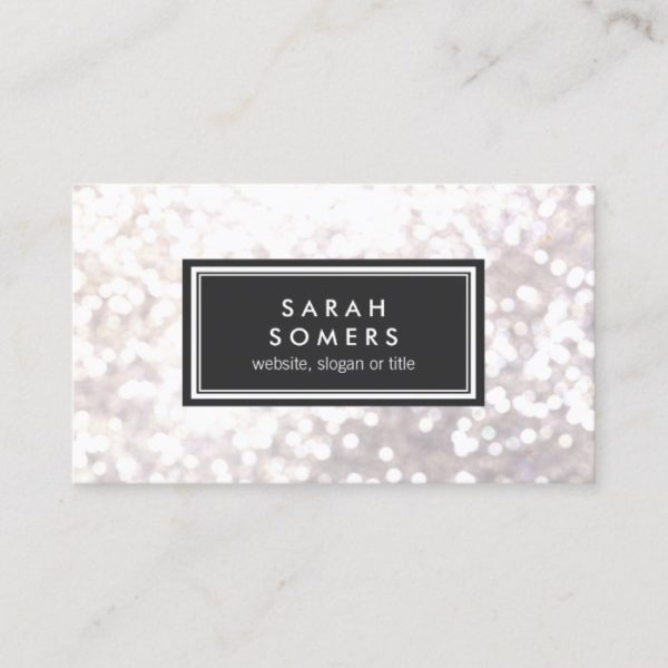 Trendy White Glitter Bokeh Stylish Black Plaque Business Card