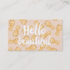 Tropical gold Hawaiian pineapple beauty typography Business Card