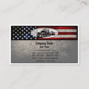 Truck in American Flag Background Business Card