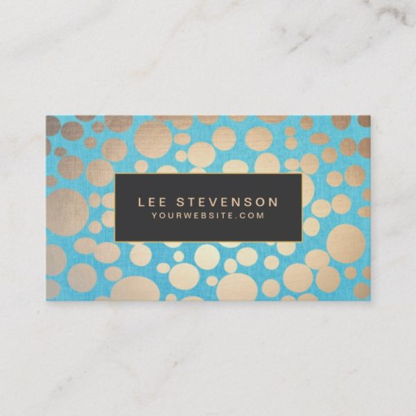 Turquoise Linen Gold Circles Look Beauty Salon 2 Business Card