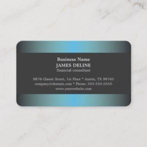 Unique Elegant Blue Metal Financial Consultant Business Card