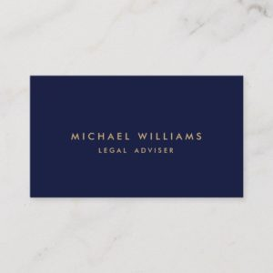 Vintage Classic Blue Navy Dark Gold Monobram Business Card