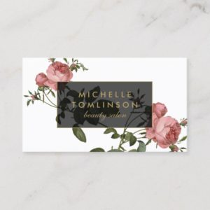 Vintage Floral Elegant Salon Business Card