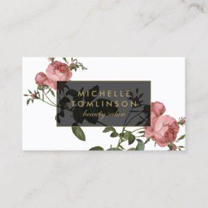 Vintage Floral Elegant Salon Business Card