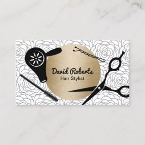 Vintage Floral Pattern Gold Circle Hair Stylist Business Card