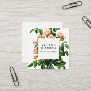 Vintage Floral Pink Peony Square Business Card
