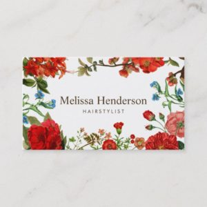 Vintage Floral Red and White Business Card