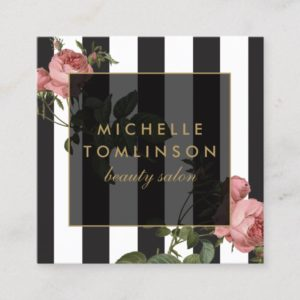 Vintage Floral Striped Beauty Salon Square Business Card