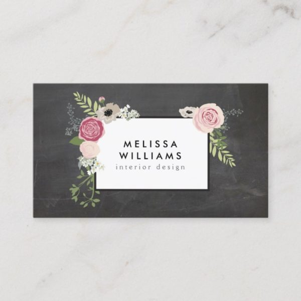 Vintage Modern Floral Motif on Chalkboard Designer Business Card