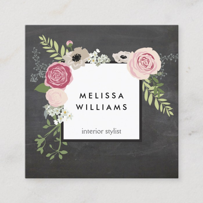 Vintage Modern Floral Motif on Chalkboard Square Business Card
