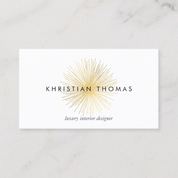 Vintage Modernist Luxe Gold Sputnik Designer Business Card