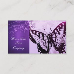Vintage Purple butterfly swirls fashion Business Card