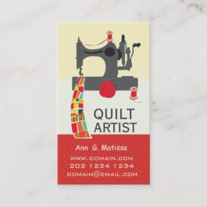 Vintage Sewing Machine Bold Crafts Quilt Artist Business Card