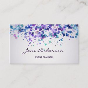 Watercolor purple violet blue paint splatter chic business card