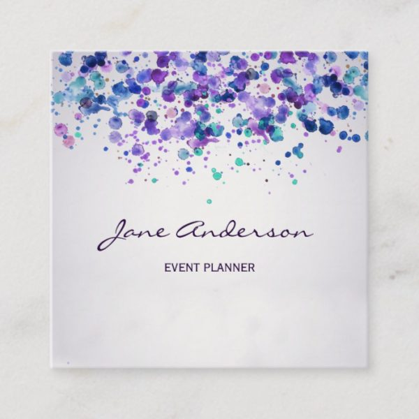 Watercolor purple violet blue paint splatter chic square business card