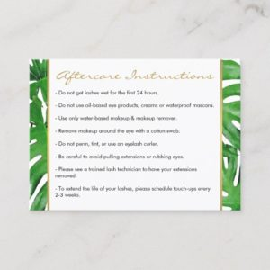 Watercolor Tropical Monstera Leaves Aftercare Card