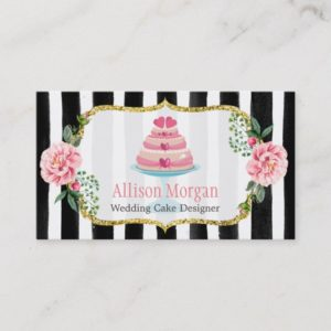 Wedding Cake Design Gold Pink Floral Striped Business Card