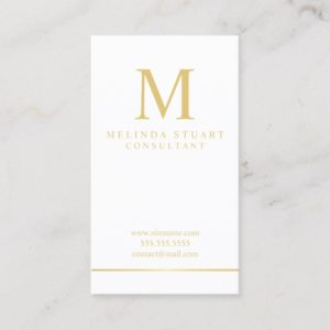 White and Gold Elegant Monogram Business Card